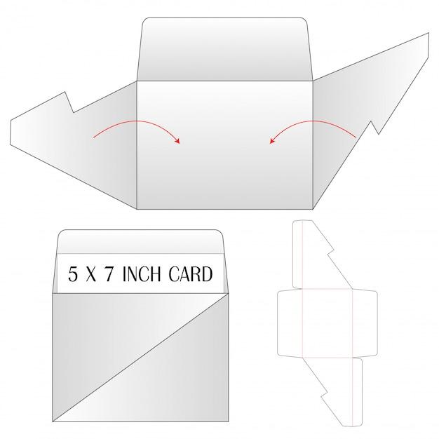 Envelope die cut mock up template vector illustration. Premium Vector