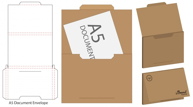 Envelope die cut mock up template Premium Vector