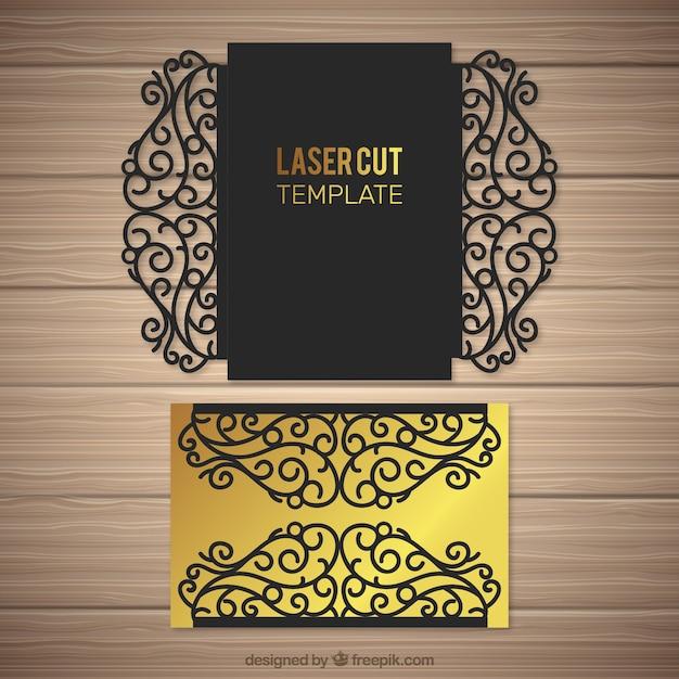 Envelope Golden Floral With Laser Cut Vector Free Download