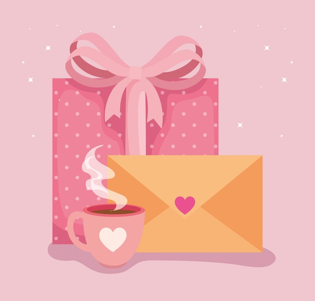 Envelope mail with icons for san valentines day illustration Premium Vector