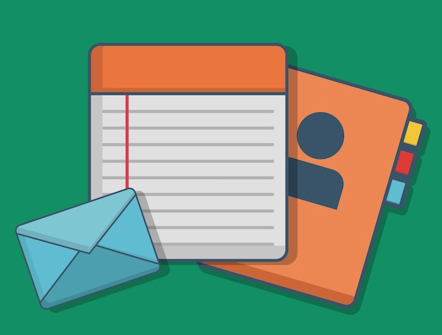 Envelope notebook and aged phone icon Vector | Premium Download