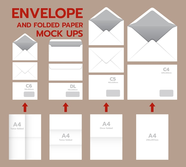 Envelope postal mockup set. realistic illustration of 10 envelope postal mockups for web Premium Vector