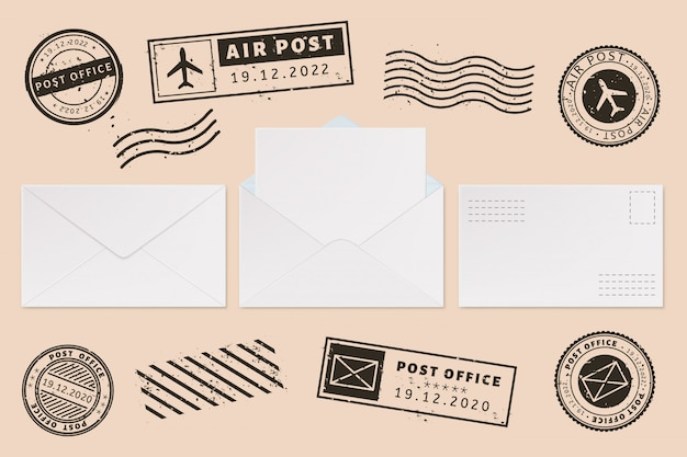 Envelope template with stamp label. mail letter and post stamps, open mail envelope with blank paper letter sheet, mail office business mockups  illustration set. postage mark. permit imprints Premium Vector