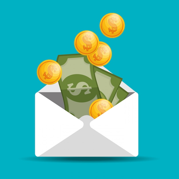 Envelope with coin bill save money Free Vector