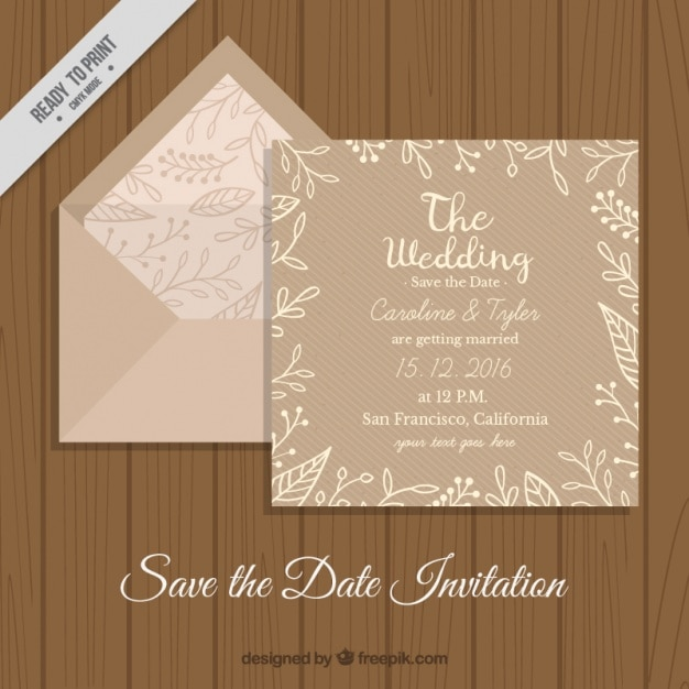 Envelope With Floral Wedding Card In Retro Style Free Vector