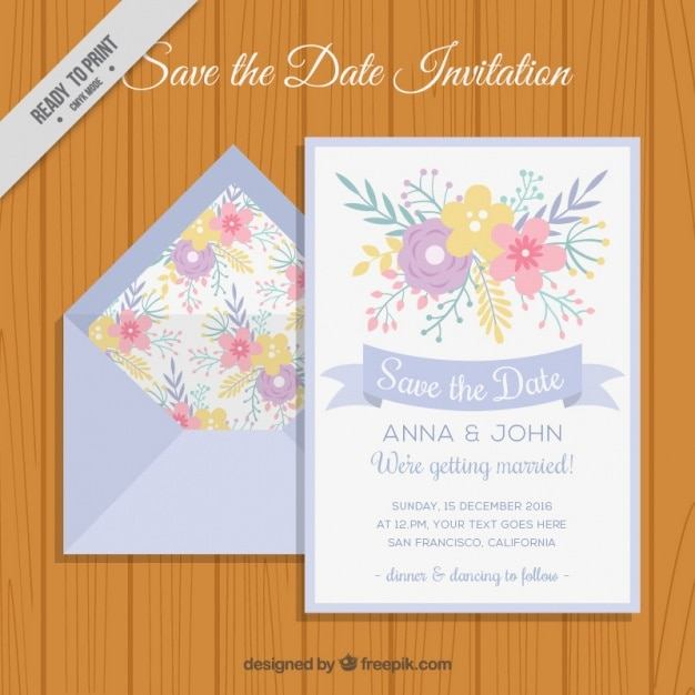 Envelope with floral wedding invitation vector free download envelope with floral wedding invitation free vector stopboris Image collections
