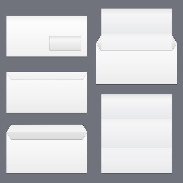 Envelopes and blank paper Premium Vector
