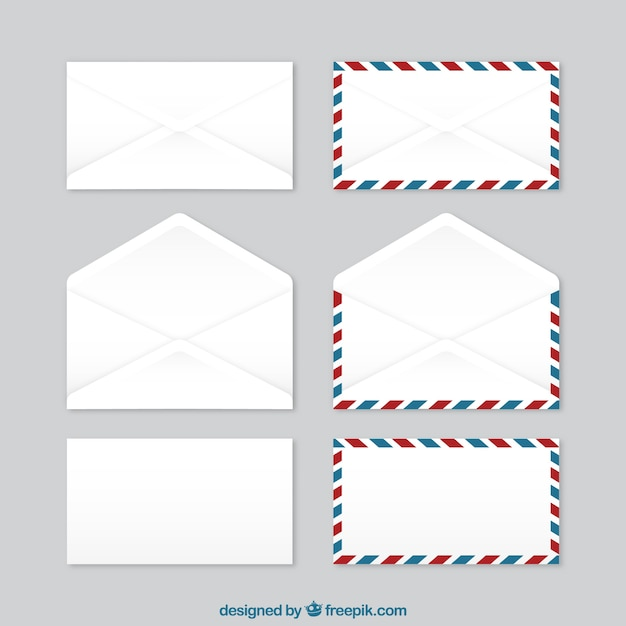 open envelope with paper envelopes collection vector free download