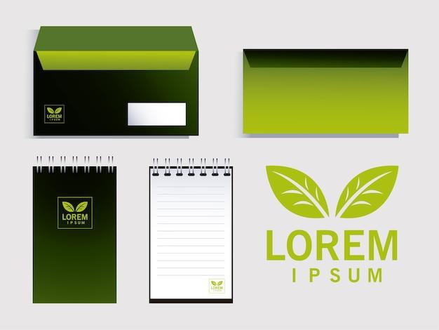 企業イラストデザインのブランドアイデンティティの要素を封筒します。 Premiumベクター