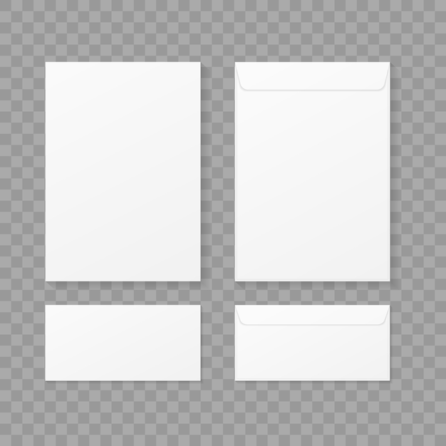 Envelopes set on transparent background Premium Vector