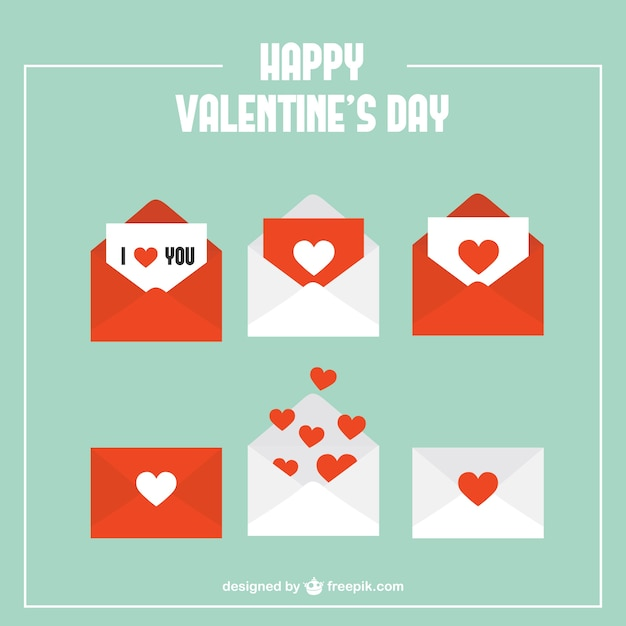 Envelopes with hearts pack Free Vector
