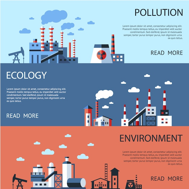 Enviroment banners collection Free Vector
