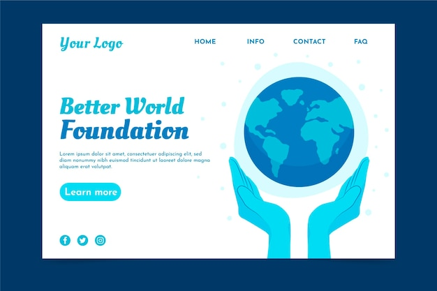 Environment charity landing page template Free Vector