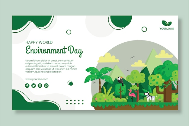 Environment day banner template Premium Vector