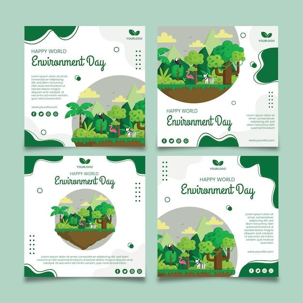 環境デーinstagram投稿テンプレート Premiumベクター