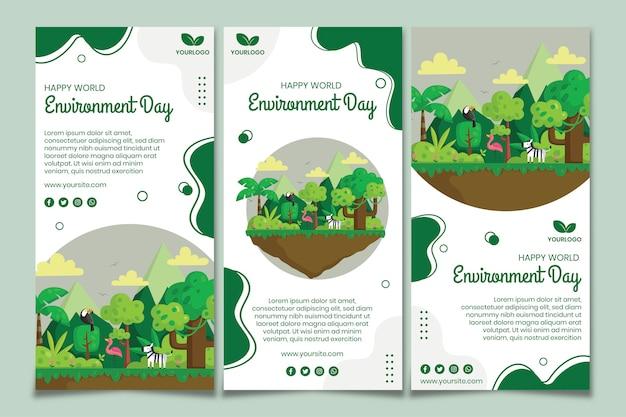 環境デーinstagramストーリーテンプレート 無料ベクター
