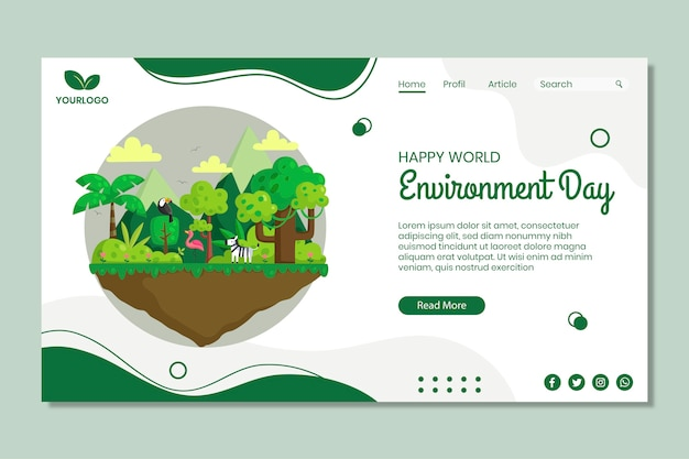 環境デーのランディングページテンプレート 無料ベクター