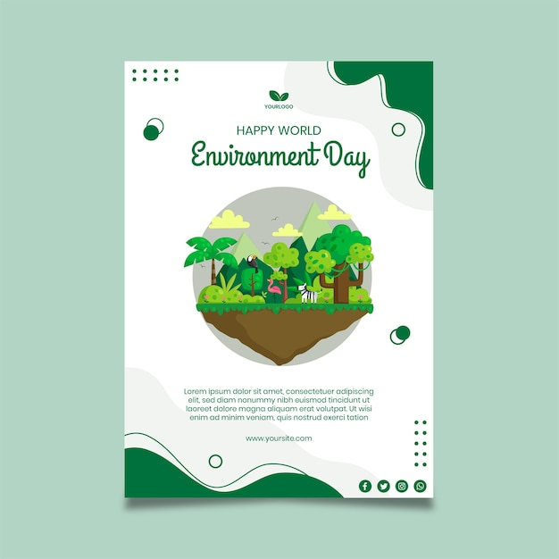 Environment day poster template Free Vector