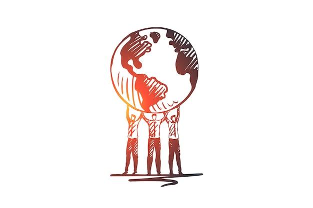 環境、エコロジー、地球、世界、地球の概念。人間の手の概念スケッチで手描きの地球儀。 Premiumベクター