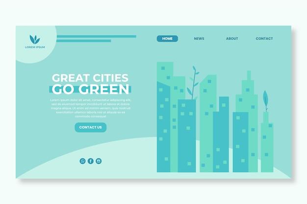 環境環境のランディングページ 無料ベクター