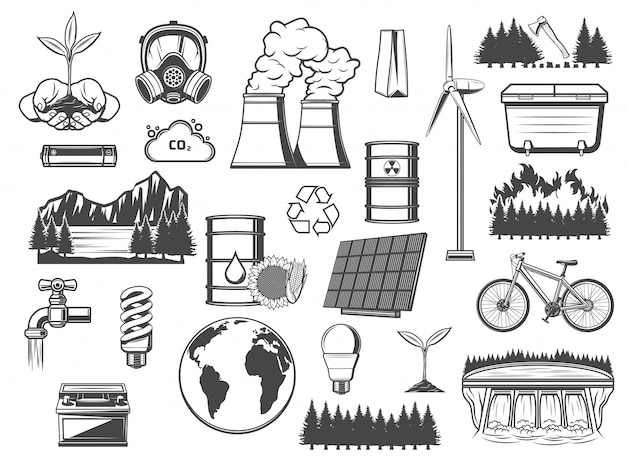 Environment, green energy and power sources Premium Vector