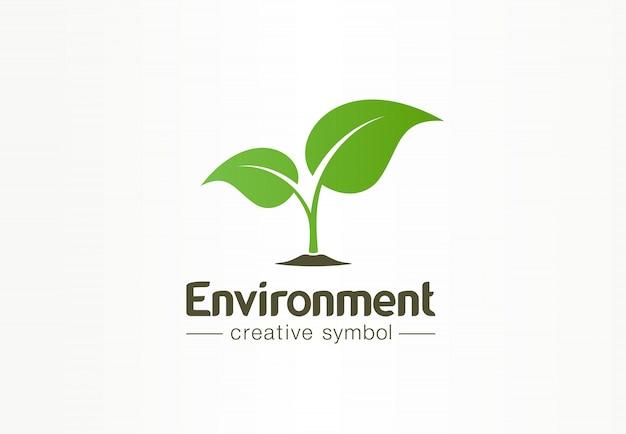 Environment, green leaf, organic creative symbol concept. natural bio cosmetics, nature abstract business logo idea. growth plant eco icon. Premium Vector
