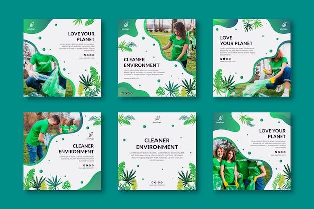 環境インスタグラム投稿コレクション 無料ベクター