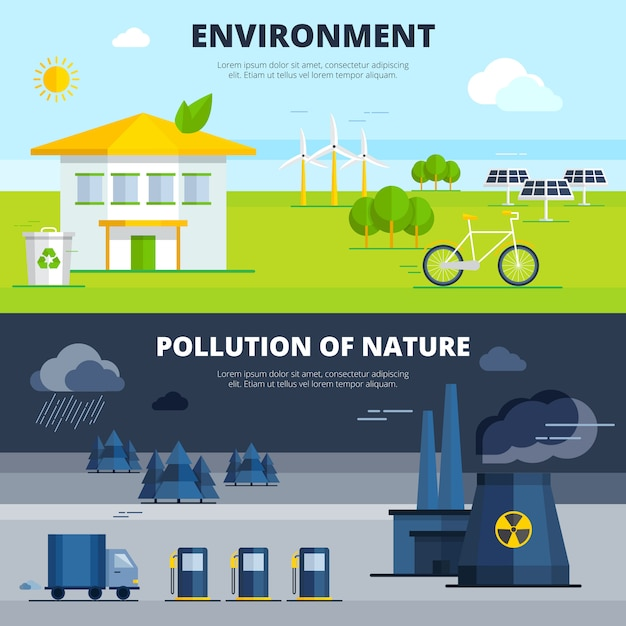Environment and pollution banners set Free Vector