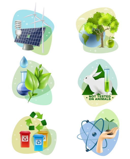 Environment protection 6 ecological icons set Free Vector