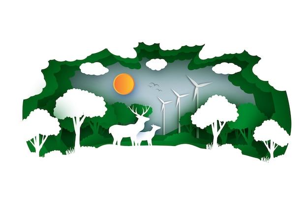 숲과 동물 종이 스타일의 환경 개념 무료 벡터