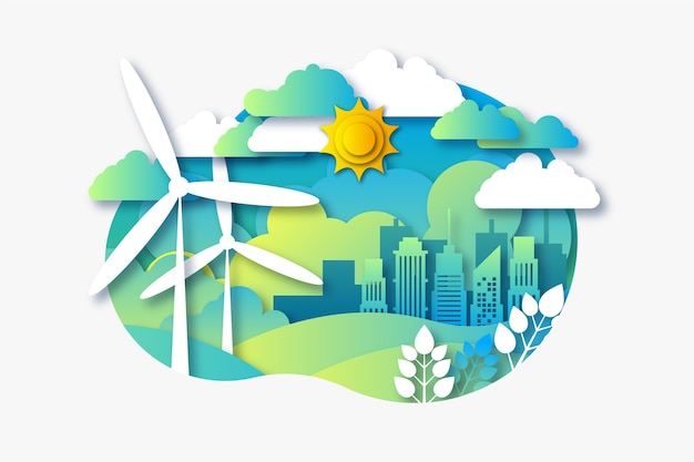 마을과 풍차와 종이 스타일의 환경 개념 무료 벡터