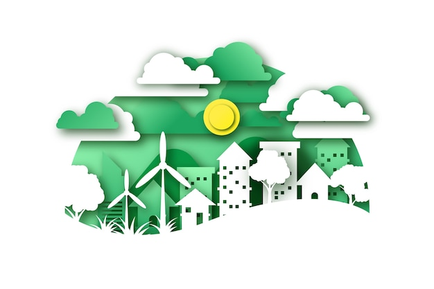 Environmental concept in paper style with city and windmills Free Vector