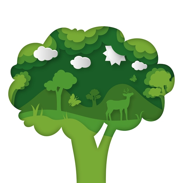Environmental concept in paper style with tree Free Vector