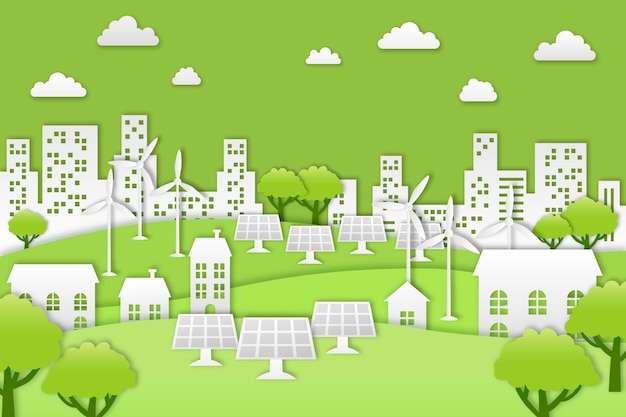 Environmental concept in paper style Free Vector