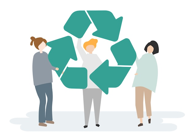 Environmental conservation and the recycling symbol Free Vector