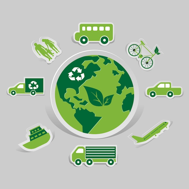 Environmental and eco-friendly technologies Premium Vector