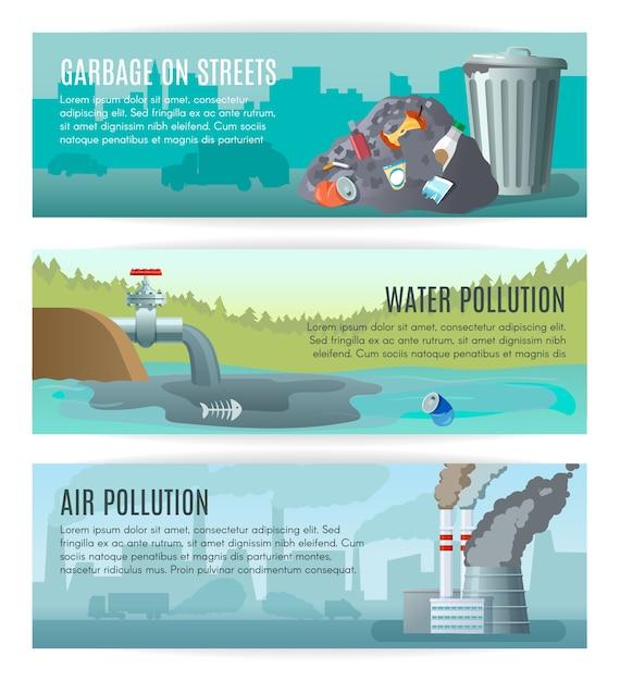 Set di banner di inquinamento ambientale Vettore gratuito