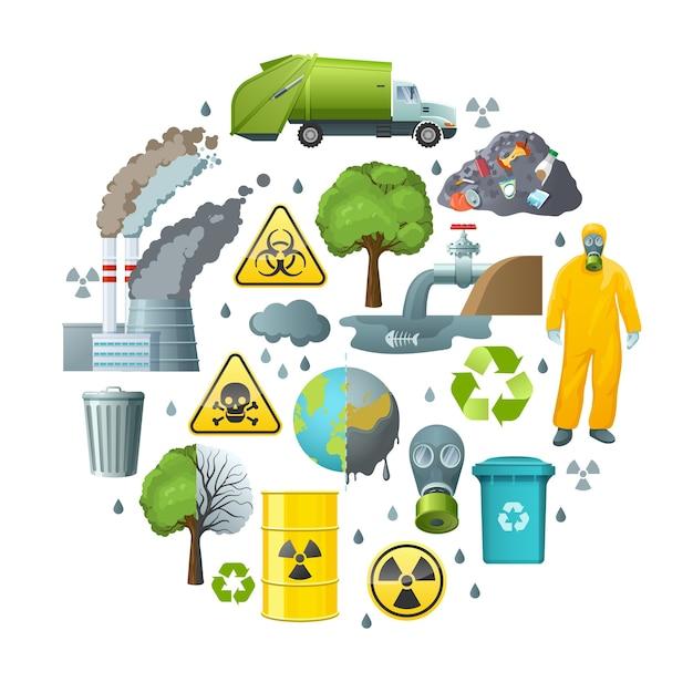 Environmental pollution circle composition Free Vector