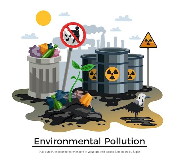 Illustrazione di inquinamento ambientale Vettore gratuito