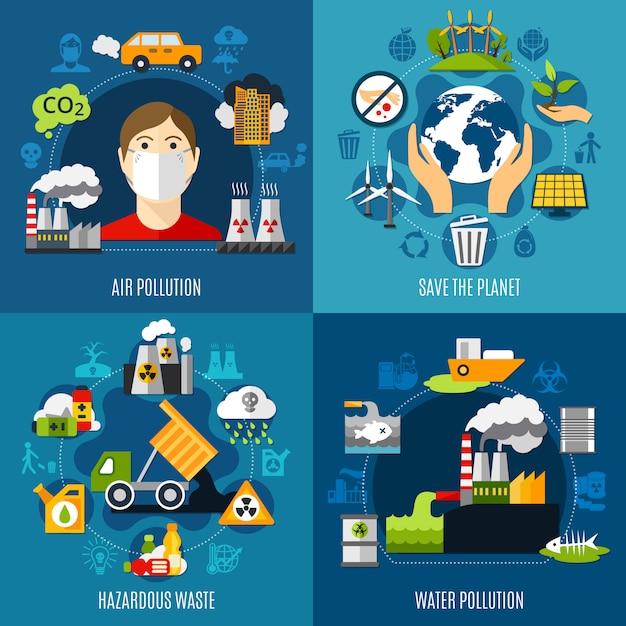Environmental problems illustration set Free Vector