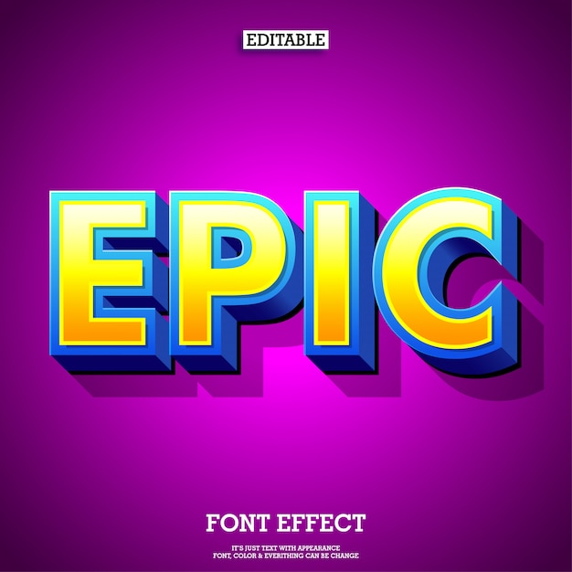Epic cartoon 3d game and movie font Premium Vector