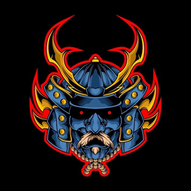 Epic samurai head illustration Premium Vector