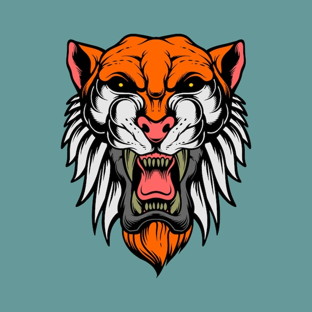 Epic tiger head Premium Vector