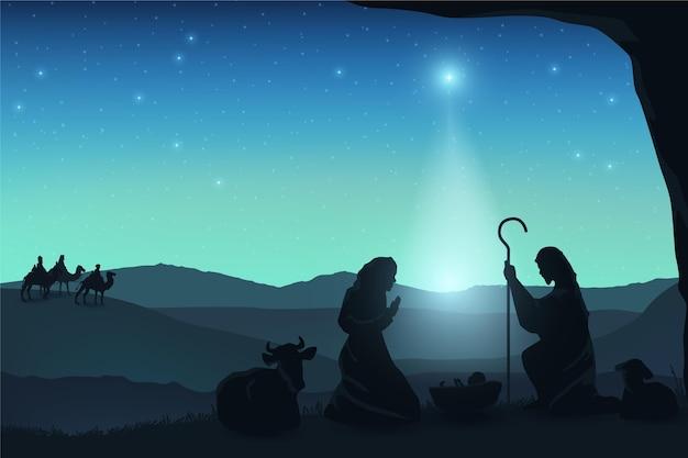 Богоявленские персонажи при свете луны Бесплатные векторы