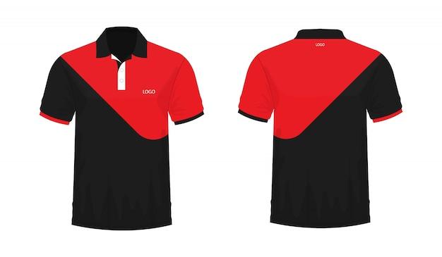 Футболка поло красный и черный шаблон для дизайна на белом фоне. векторная иллюстрация eps 10. Premium векторы
