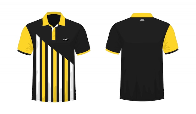 Футболка поло желтый и черный шаблон для дизайна на белом фоне. векторная иллюстрация eps 10. Premium векторы