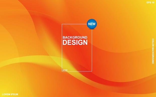 オレンジ色のサンサイトの色と抽象的な背景液体テーマ。モダンな最小限のeps 10 Premiumベクター
