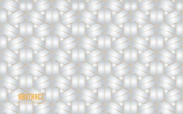 ゴールデンラインと抽象的な背景六角形グレーと白の色。モダンな最小限のeps 10 Premiumベクター