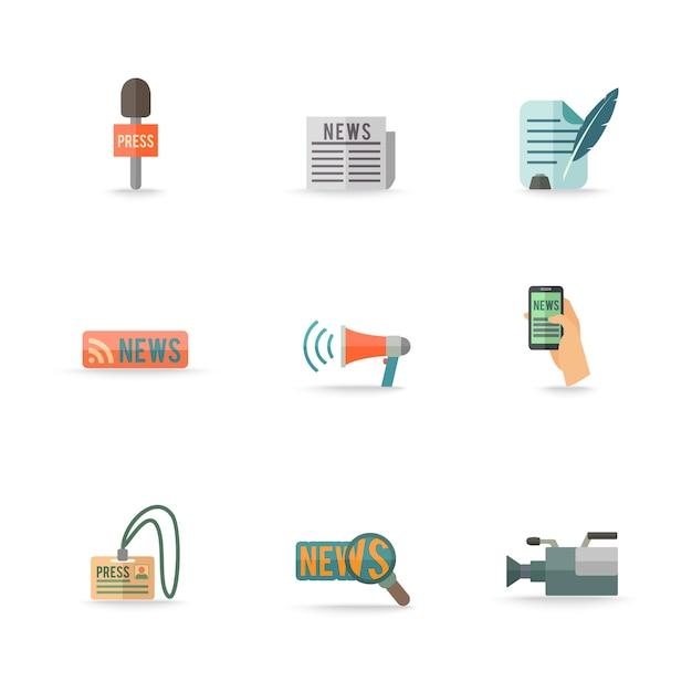 ソーシャルメディアモバイルプレスセンターレポーターシンボルエンブレムデザインピクトグラムコレクション分離アイコンセットフラット。編集可能なepsとjpg形式でのレンダリング 無料ベクター