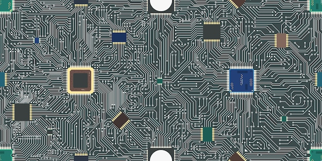 Eps vector motherboard abstract seamless background. Premium Vector